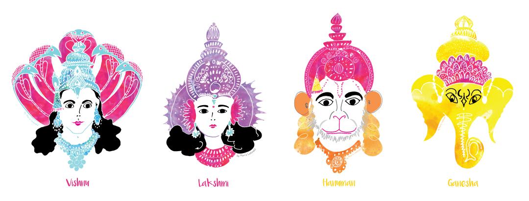 Vishnu-Lakshmi-Hanuman-Ganesha